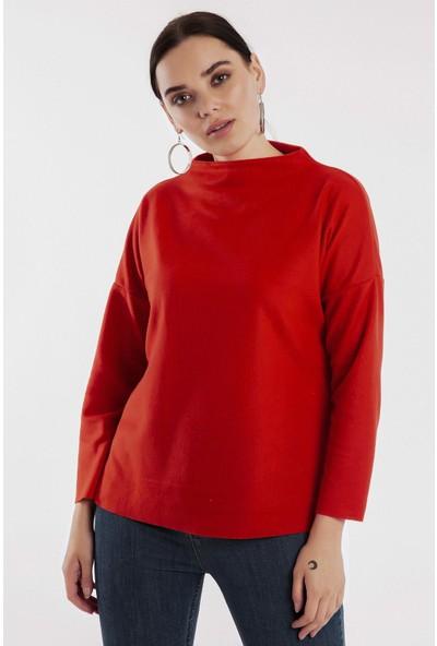 Hds Hadise Kırmızı Dik Yaka Selanik Sweatshirt 0532
