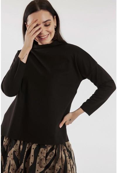 Hds Hadise Siyah Dik Yaka Selanik Sweatshirt 0532