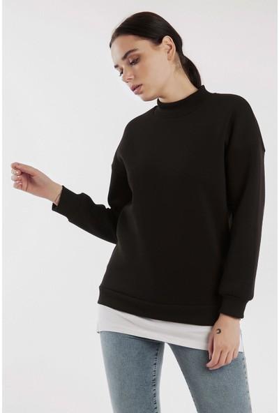 Hds Hadise Siyah Balıkçı Yaka Alttan Penyeli Sweatshirt 6623