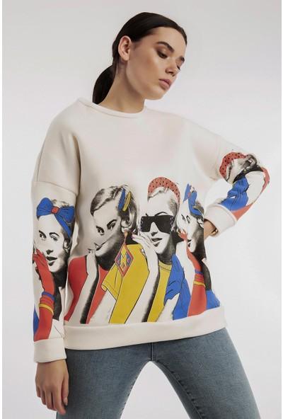 Hds Hadise Ekru Kız Baskılı Sweatshirt 6788