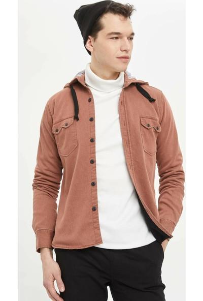 Defacto Erkek Modern Fit Kapüşonlu Uzun Kollu Gömlek