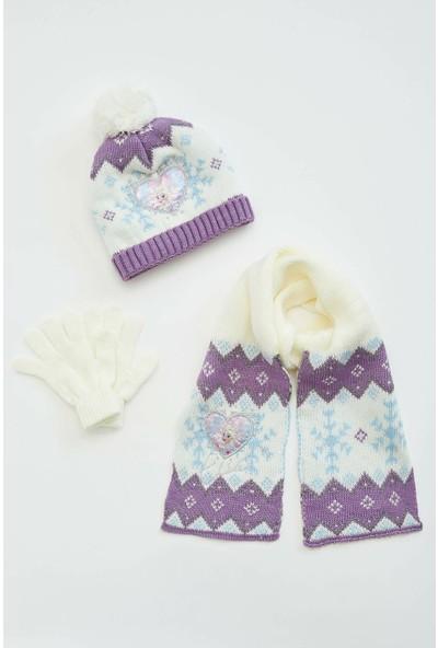 Defacto Kız Çocuk Frozen Lisanslı Atkı Eldive Bere Takımı