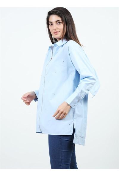 Konilya Açık Mavi Fermuarlı Gömlek
