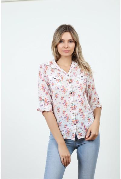 Konilya Çiçek Desenli Uzun Gömlek