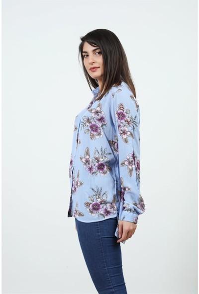 Konilya Mor Çiçek Desenli Mavi Gömlek