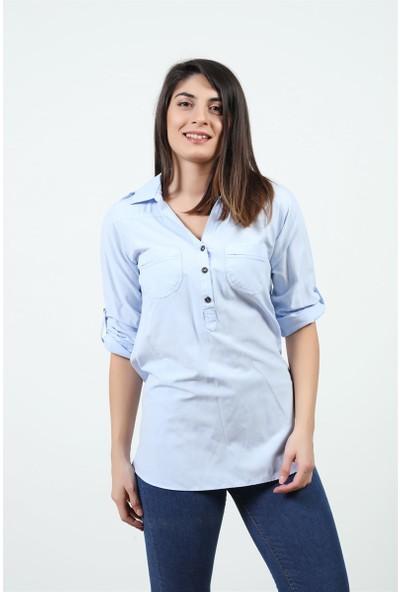 Konilya Yakası Cepli Gömlek Mavi