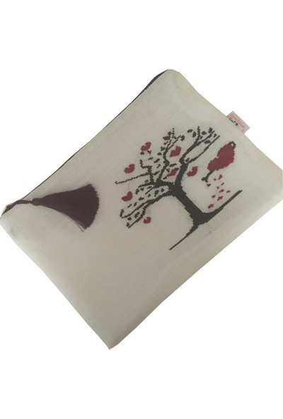 Pafuli El Yapımı Etamin Işlemeli Clutch Çanta Beyaz Ağaç