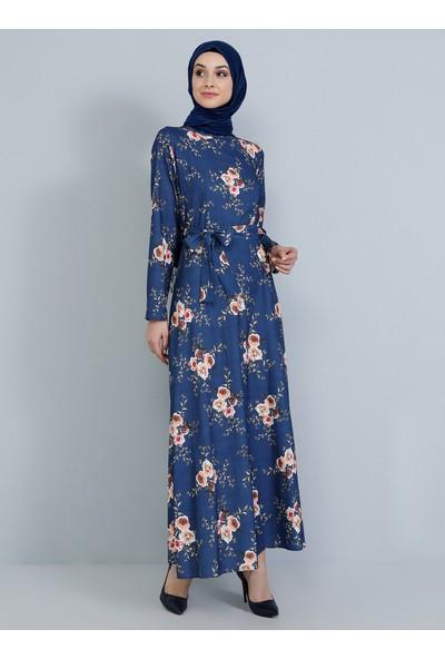 Tavin Kadın Tesettür Hakim Yaka Çiçekli Elbise