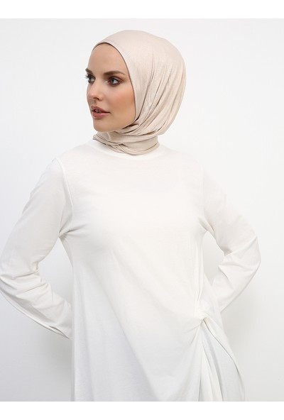 Refka Kadın Tesettür Doğal Kumaşlı Beli Düğümlü Tunik