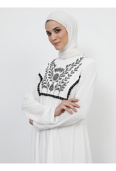 Refka Kadın Tesettür Püskül Detaylı Nakışlı Tunik