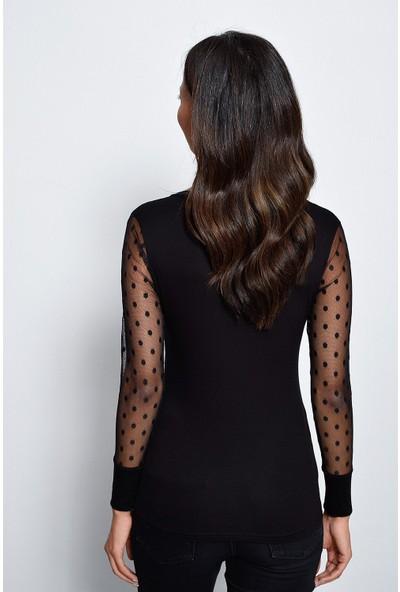 New Laviva V Yaka Tül Puan Detaylı Uzun Kollu Abiye Siyah Kadın Bluz