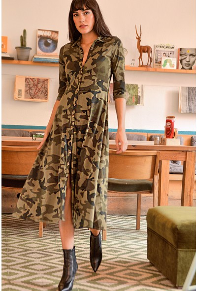 New Laviva Kamuflaj Desenli Uzun Kollu Uzun Boy Gömlek Elbise Çok Renkli Kadın Elbise