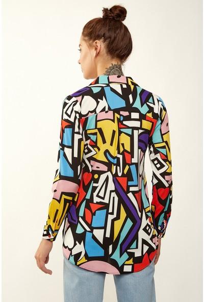 New Laviva Geometrik Desen Uzun Kollu Çok Renkli Kadın Gömlek