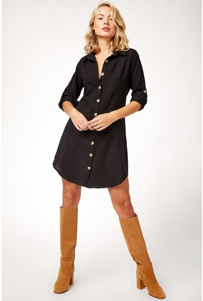 New Laviva Uzun Kollu Mini Boy Gömlek Elbise Siyah Kadın Elbise