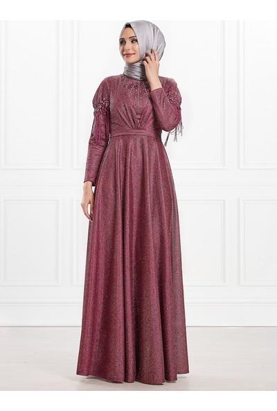 Moda Sinanlar Ahsen Abiye Elbise Fuşya