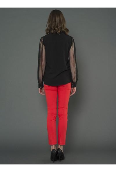 For You Moda Kadın Kol Detaylı Gömlek