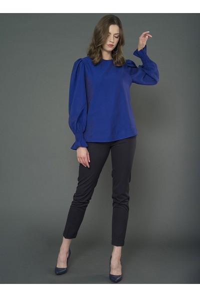 For You Moda Kadın Karpuz Kol Detaylı Bluz