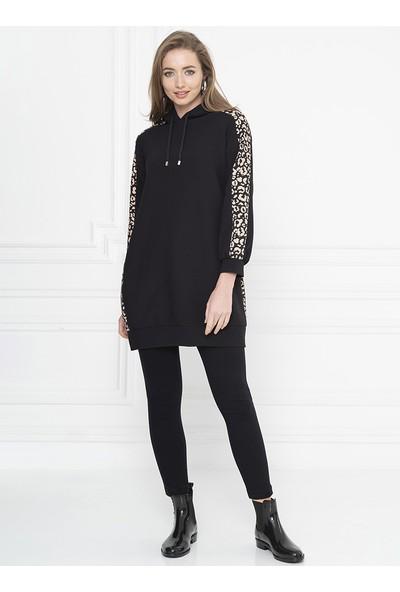 For You Moda Kadın Leopar Detaylı Kapüşonlu Sweatshirt