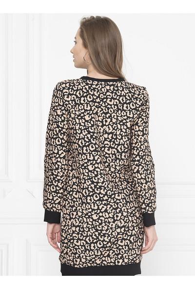 For You Moda Kadın Leopar Desenli Sweatshirt