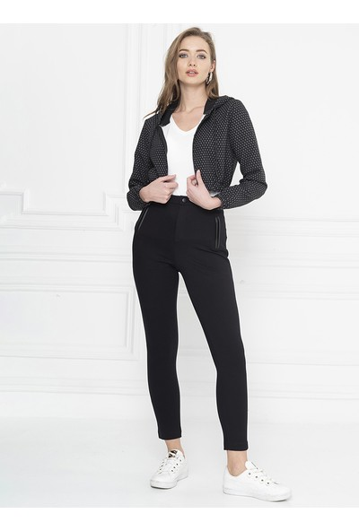 For You Moda Kadın Kısa Kapüşonlu Fermuarlı Sweatshirt