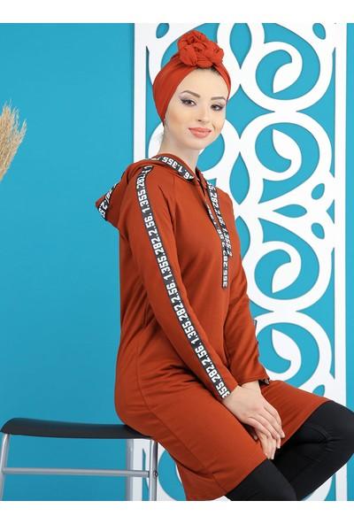 Tofisa Sports Kadın Şeritli Kapşonlu Sweatshirt
