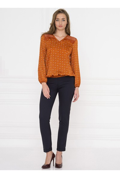 For You Moda Kadın Nal Desenli Dantel Detaylı Bluz