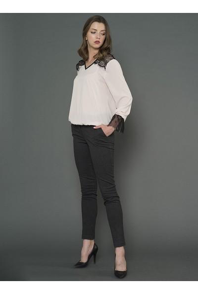 For You Moda Kadın Dantel Detaylı Bluz