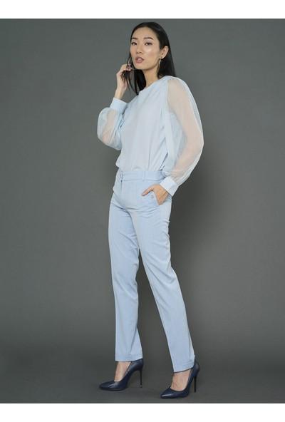 For You Moda Kadın Tül Kol Detaylı Bluz