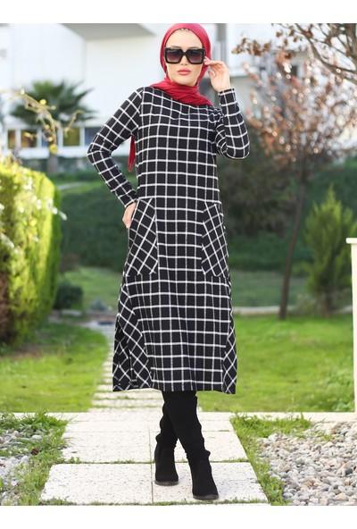 Lazeyn Kadın Ekose Cep Detaylı Elbise