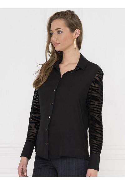 For You Moda Kadın Zebra Desen Detaylı Gömlek