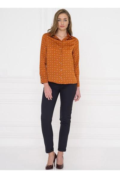 For You Moda Kadın Nal Desenli Gömlek