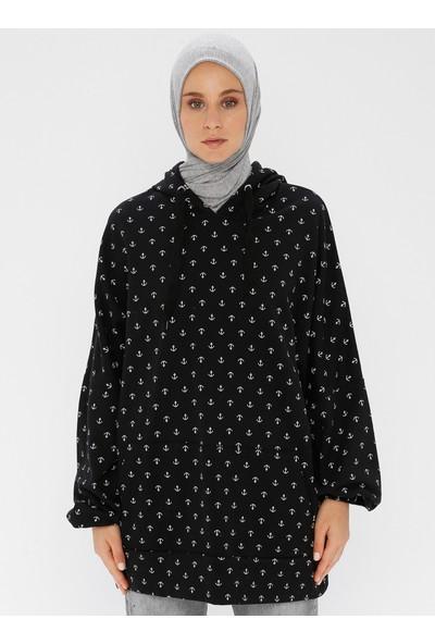 Pickone Kadın Gemici Desenli Sweatshirt