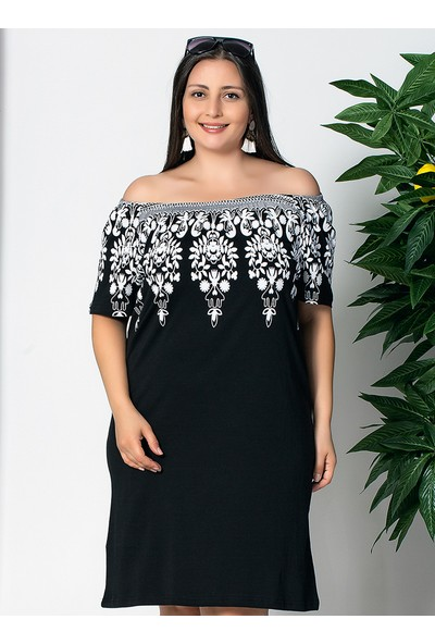 Siyah İnci Kadın Pamuklu Likralı Elbise