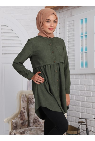 Sahra Butik Kadın Tek Cepli Büzgülü Kadife Gömlek