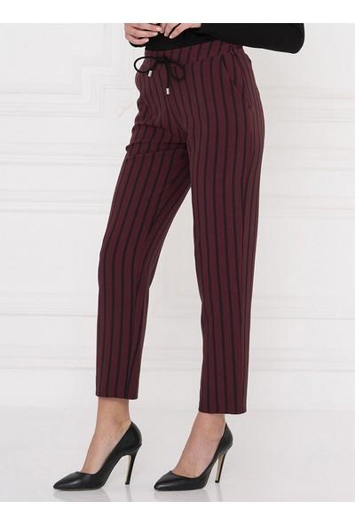 For You Moda Kadın Çizgili Pantolon