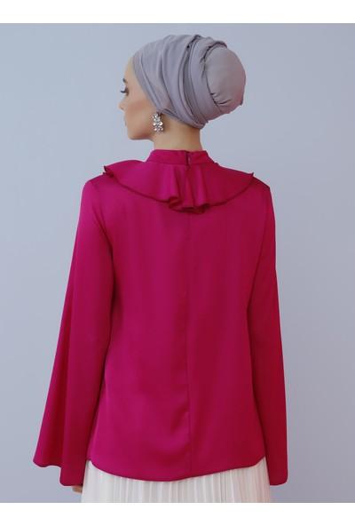 Nihan Peker X Modanisa Kadın Yaka Detaylı Bluz