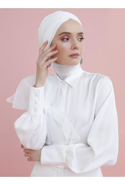 Nihan Peker X Modanisa Kadın Fiyonk Detaylı Gizli Düğmeli Gömlek