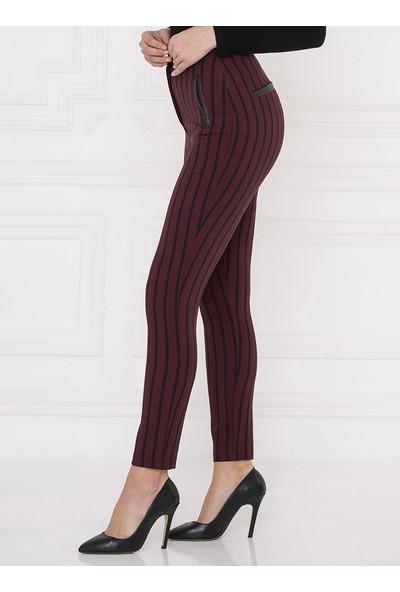 For You Moda Kadın Deri Cep Detaylı Çizgili Pantolon