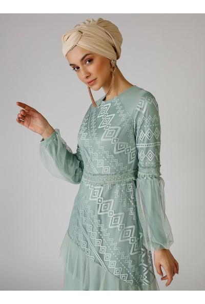 Mwedding Çağla Püskül Detaylı Tüllü Abiye Elbise