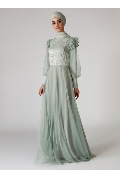 Mwedding Çağla Dantel Detaylı Abiye Elbise