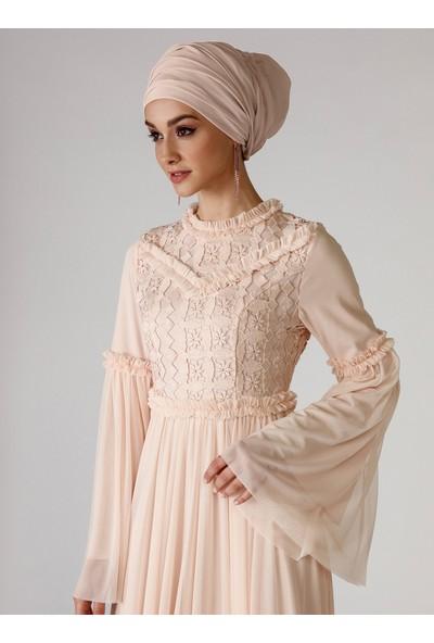 Mwedding Pudra Güpür Detaylı Abiye Elbise