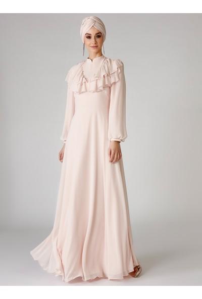 Mwedding Pudra Volanlı Abiye Elbise