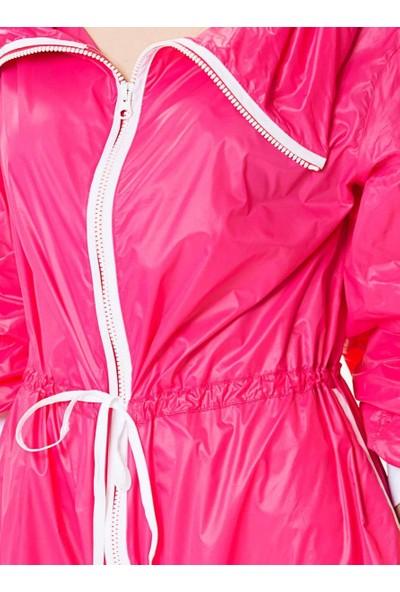 Roman Kadın Bel Lastikli Pembe Yağmurluk-Y9918001-003
