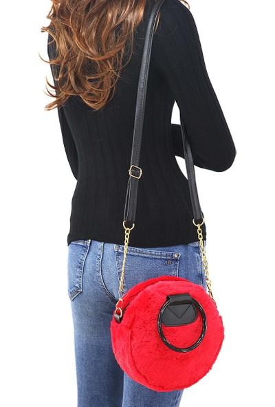 Depoms Orta Boy Tek Bölmeli Yuvarlak Peluş Kırmızı Kadın Omuz Çantası