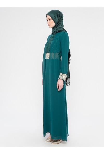 Meksila Şifon Detaylı Abiye Elbise Yeşil