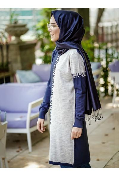 İnşirah Desenli Triko Kadın Tunik Lacivert
