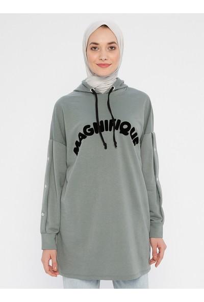 Laruj Flok Baskılı Kadın Sweatshirtshirt Çağla