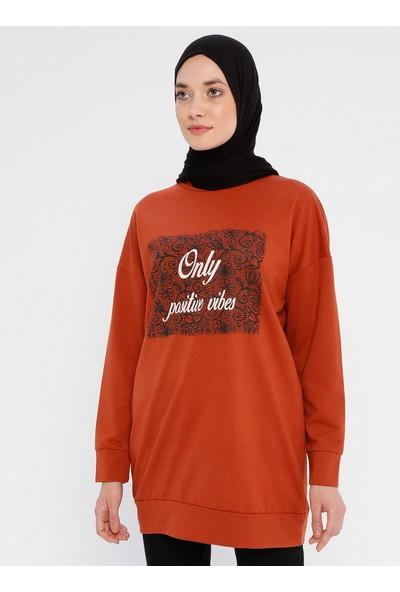Laruj Baskı Detaylı Kadın Sweatshirtshirt Kiremit