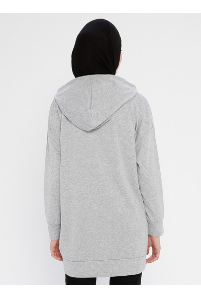 Laruj Baskı Detaylı Kadın Sweatshirtshirt Gri