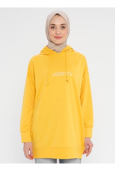 Laruj Baskı Detaylı Kadın Sweatshirtshirt Sarı